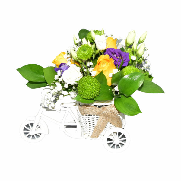 trcicileta mica cu flori multi culorate