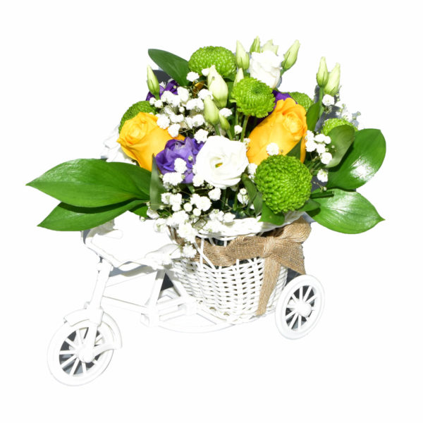 tricicleta colorata cu flori