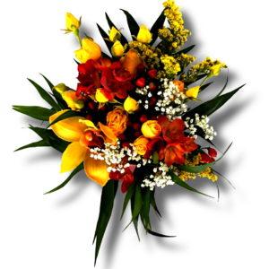 Aranjament floral frezie in cutie cadou