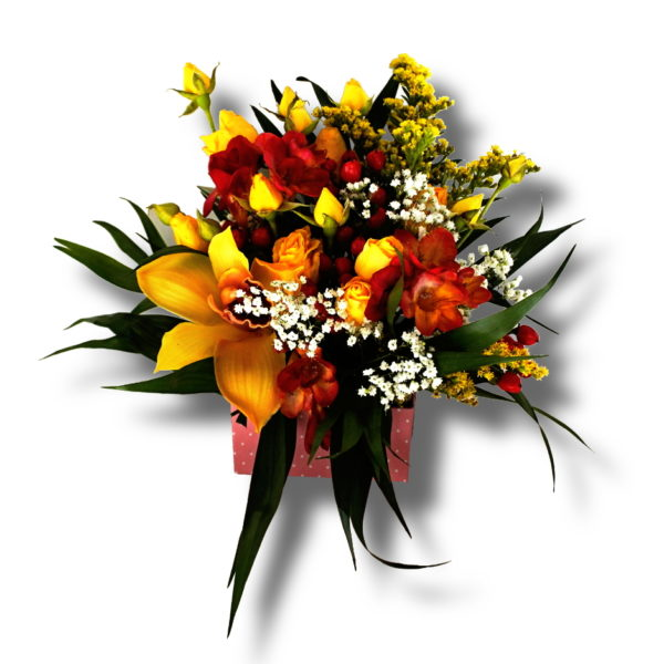 aranjament floral de primavara cu frezii