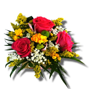 Aranjament floral ocazii speciale cu Trandafir, Solidago galben, Frezii, Santini