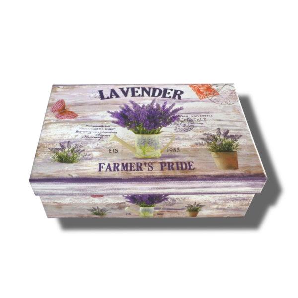 cutie dreptunghiulara cu capac lavender pentru aranjamente florale